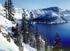 early one morning, snow, Ice, Cold, Frozen, Icy, Winter, evergreen trees, Pine, Crater Lake National Park, PAFV01P02_06