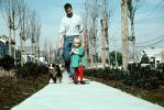Father, Daughter, walking the dog, PBTV03P13_17
