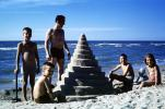 Cone Sand Castle, Beach, Father, Son, Daughter, Cone, Spiral, Ocean, Water, October 1965, 1960s, PCTV01P01_12