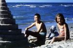 Sister, Brother, Boy, Girl, Sand, Beach, Ocean, Poodle, October 1965, 1960s, PCTV01P01_12B