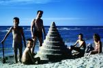 Cone Sand Castle, Sister, Brother, Boy, Girl, Sand, Beach, Ocean, Poodle, Man, October 1965, 1960s, PCTV01P01_13