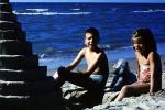 Sister, Brother, Boy, Girl, Sand, Beach, Ocean, Poodle, October 1965, 1960s, PCTV01P01_13B