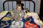 Boy, Brass Bed, Quilt, Stuffed Animal, Pillow, 1960's, PDBV01P10_15