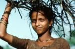 Girl Carrying Firewood, Desertification, wood bundle, twigs, Child-Labor
