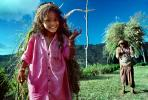 Smiling Girl carrying vegetation, woman, deforestation, desertification, PDCV01P07_03