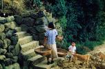 woman, baskets, boy, steps, Sasebo Saga, Japan, 1940's