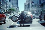 Chinese Woman with a huge load of Recyclables, California Street, cars, crossing, PDCV01P09_19