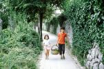 girl and boy carrying a basket, path, Ivy, PDCV01P12_05
