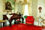 Piano, Chair, Ornate, keys, keyboard, opulant, Baroque, painting, curtains, PDFV02P01_15