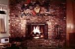 Fireplace, brick, Christmas Decorations, fire, December 1969