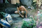 Making a cement goldfish pond, Pacific Palisades, California, 1970s, PDGV01P05_02