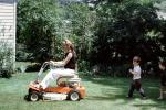 Lawn Mower, power mower, lawn, woman, female, boy, PDGV01P07_13