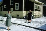 Women, Snow Sweep, driveway, home, house, 1950s, PDGV01P09_19