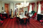 Dining Room, chandelier, table, chairs, harp, carpet, curtains, PDKV01P05_09