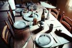 Table, Plates, setting, chairs, knife, wine bottle, PDKV01P06_18