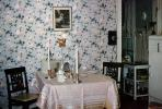 Table, wallpaper, tablecloth, chair, framed print, radio, December 1952, 1950s, PDKV01P08_11