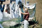 Hanging clothes, drying, sunny day, Clothes Line, clothesline, Washingline, 1950's, PDLV01P05_11