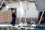 girl hanging laundry, Clothesline, Washingline, Hazar Hani, Iran, PDLV01P08_07
