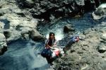 Girl Washing Clothes, Stream, Rocks, Falefa River, Samoa, PDLV01P09_18