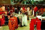 Shopping Mall, clothing store, racks, interior, inside, indoors