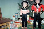 Cowgirl, Cowboy, Brother, Sister, Christmas Day, Hats, Guns, Jeans, Siblings, 1950s, PFLV10P06_19