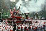 Flags, Steam Engine, Train, People Crowds, Macy's Thanksgiving Day Parade, autumn, PFPV01P14_10B