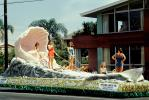 Queen of the Beaches, Long Beach Chamber of Commerce float, Miss Universe Parade, Pink Clamshell, 1955, 1950's