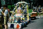 Costume, float, parasol, flowers, 1950s