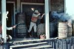 Cowboy Shooting, Shootout, barrels, pistol, rifle, steps, stairs, PFTV03P08_10