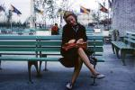 Woman, Bench, Smoking, New York Worlds Fair, 1964, 1960's