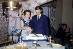 Birthday Cake Cutting, Woman Boy, Son, Suit and tie, table, candles, silverware, 1950s, PHBV02P13_09