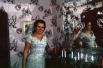 Woman, Mirror, Candles, wallpaper, dress, female, 1960s, PHBV02P13_11