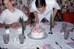 Boys, Teens, Cake, Table, Candles, 1960s, PHBV03P09_10