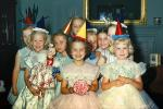 Girls, Hats, Party Dresses, Smiles, Dresses, Ribbons, 1950s, PHBV03P10_18