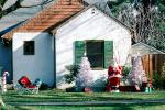 Christmas Tree, Santa Claus, lawn, front yard, sled, home, house, building