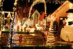 reindeer, snowman, storybook scene, Christmas Lights, decoration, frontyard, house, home, spiral, Nipomo, PHCV02P06_02