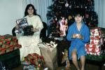 boy, girl, presents, tree, robe, Decorations, Ornaments, Christmas Tree decorated, PHCV02P09_08
