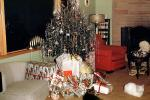Presents, Decorations, Ornaments, Tree, tinsel, white cat, chair, Menorah, 1950s
