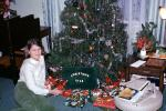 girl, smiles, tree, Presents, Decorations, Ornaments, Christmas Tree decorated, 1968, 1960s, PHCV02P12_07