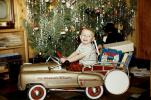 Boy, Pedal Car, 741 Station Wagon, firetruck, smiles, 1950s