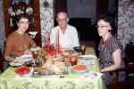 Christmas Dinner, turkey, table, plates, candles, 1950's, PHCV03P07_15