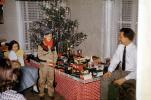 tiny tree, girl, boy, oiler, toy train, oilcan, village, Presents, Decorations, Ornaments, 1950s