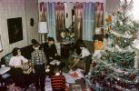 boys, girls, unwrapping presents, tree, christmas morning, Decorations, Ornaments, 1940s