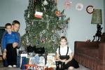 Kids, Children, brother, sister, siblings, sofa, Early Morning, Tinsel, Tree, 1960s