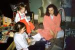 Mother, Children, Morning, Monopoly, opening presents, robe, nightwear,  1950s, 1950s