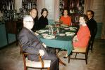 Dinner, Table, food, men, women, plates,  glasses, 1940s