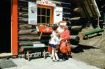 Santa Claus, Log Cabin, girl, building, 1950s
