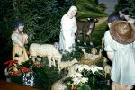 Nativity Scene, Baby Jesus, Lamb, sheep, Mother Mary, Oxen, Prayer, Praying, 1940s