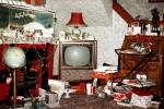 Television, Living room, presents, globe, lamp, mess, abundance, lampshade, 1960s