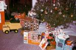 Tree, Presents, Gifts, Decorations, Ornaments, tonka toy, dump truck, 1960s, diesel